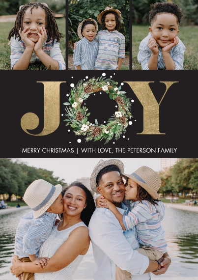 Christmas Photo Cards 5x7 Cards, Premium Cardstock 120lb, Card & Stationery -Christmas Joy Wreath Gold by Tumbalina