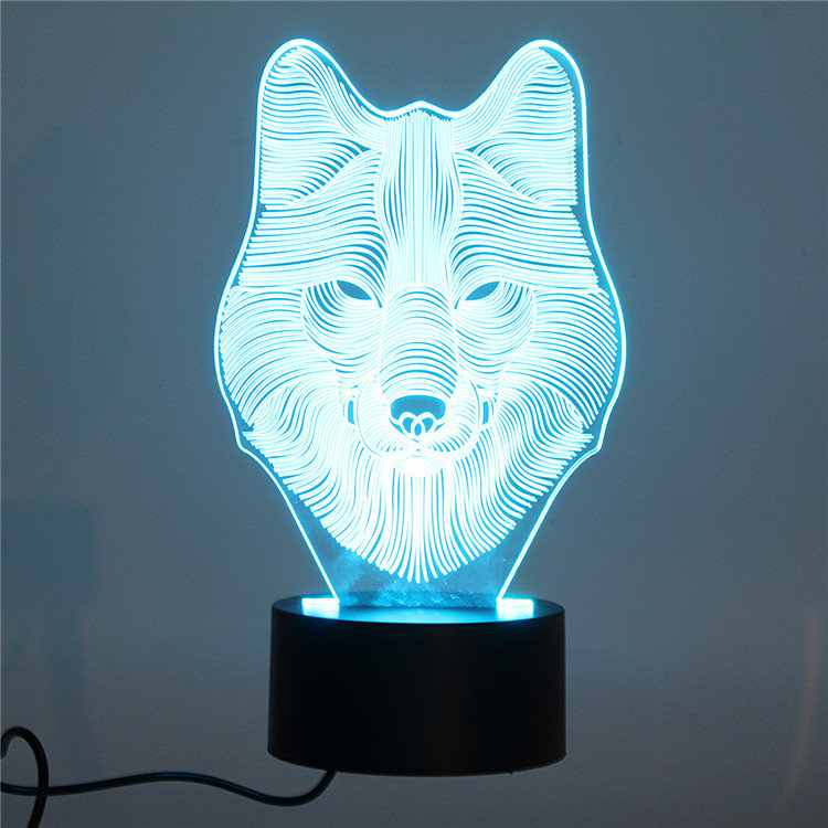 DecBest 3D Wolf Night Light 7 Color Change LED Desk Table Lamp Toy Gift Bedroom Home Decor