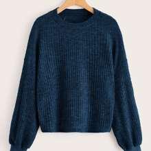 Rippenstrick Pullover mit sehr tief angesetzter Schulterpartie