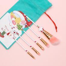 5pcs Christmas Makeup Brush With Storage Bag