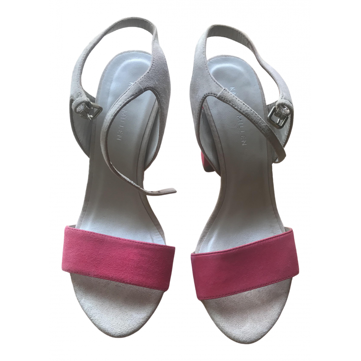 Karen Millen - Sandales   pour femme en suede - rose