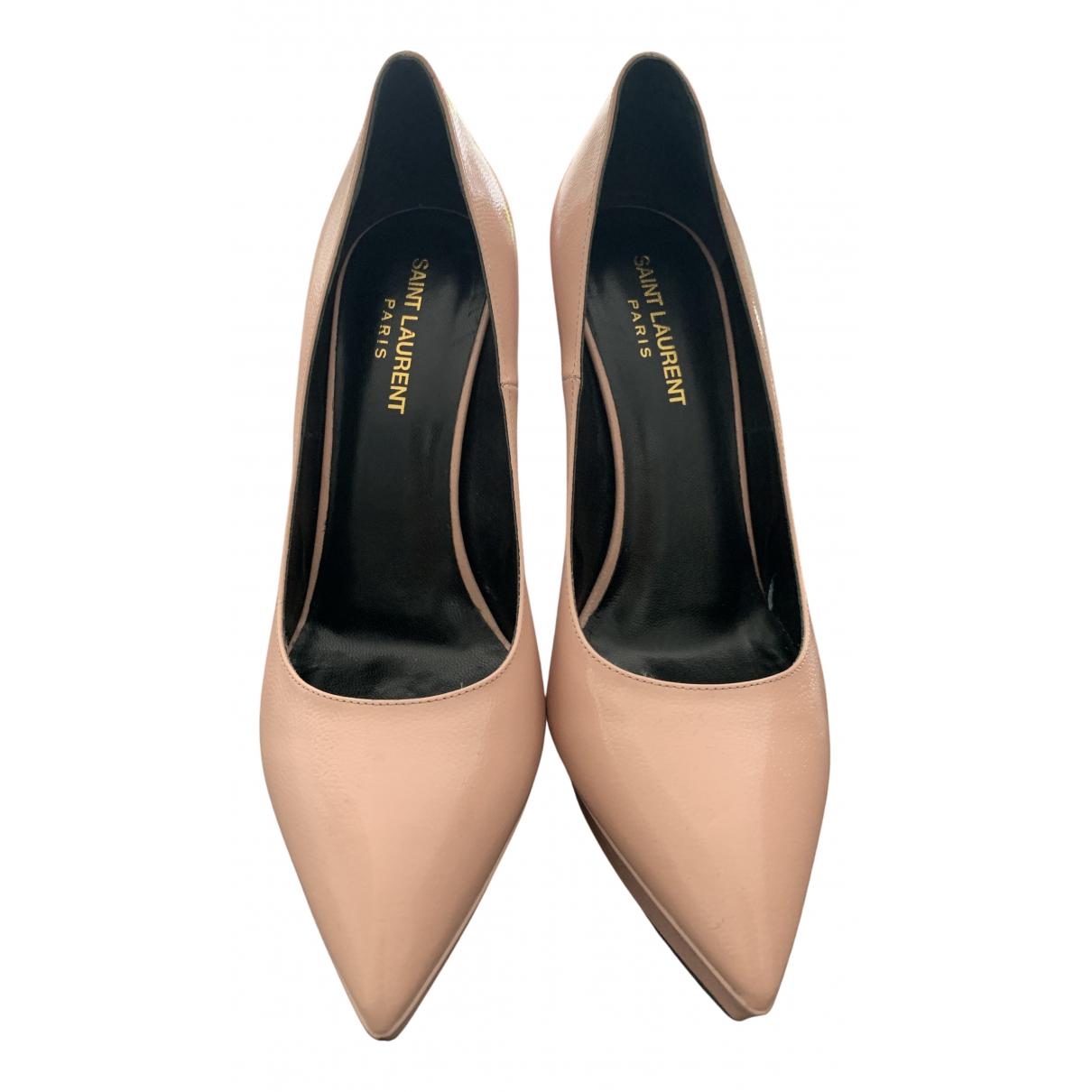 Saint Laurent Janis Pink Leather Heels for Women 39 EU