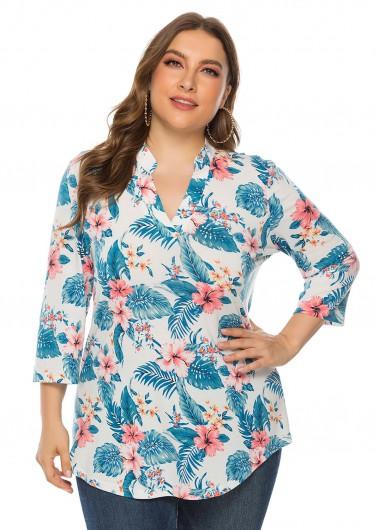Floral Print Three Quarter Sleeve Plus Size T Shirt - 3XL