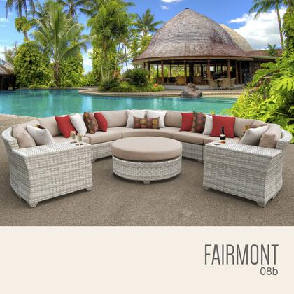 FAIRMONT-08b-WHEAT Fairmont 8 Piece Outdoor Wicker Patio Furniture Set 08b with 2 Covers: Beige and