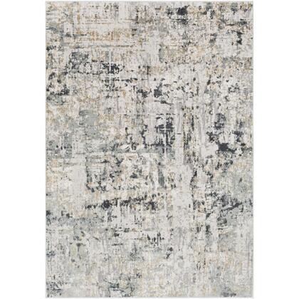 Quatro QUA-2302 9 x 124 Rectangle Modern Rug in Silver Gray  Medium Gray  Tan  White