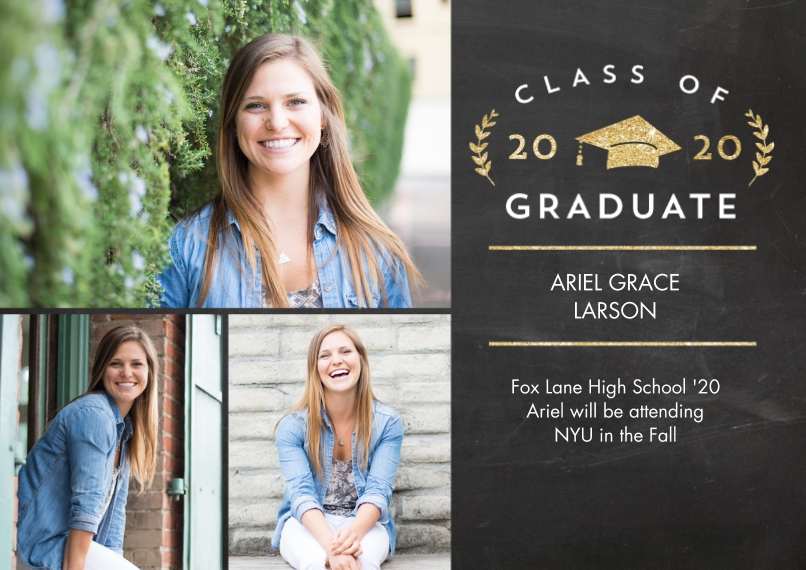 2020 Graduation Announcements Flat Matte Photo Paper Cards with Envelopes, 5x7, Card & Stationery -2020 Grad Laurel by Tumbalina