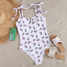 Cherry Print V Wired Tie Shoulder One Piece Swimsuit