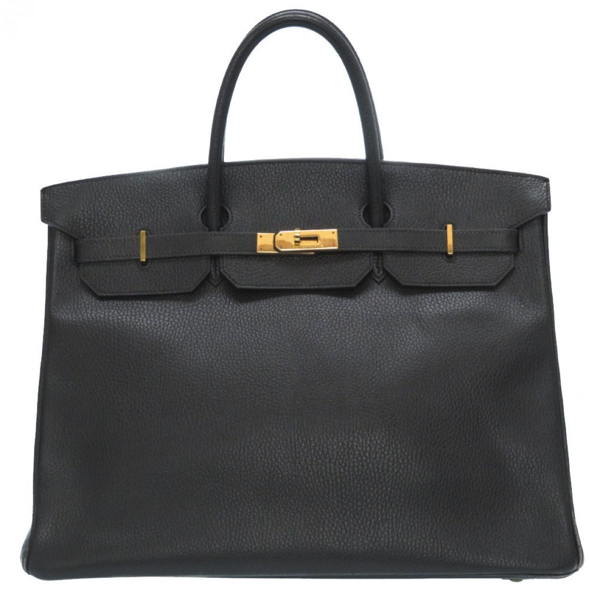 Hermes - Sac a main Birkin 30 pour femme en cuir - noir