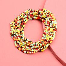 Mehrschichtiges Armband mit bunten Perlen