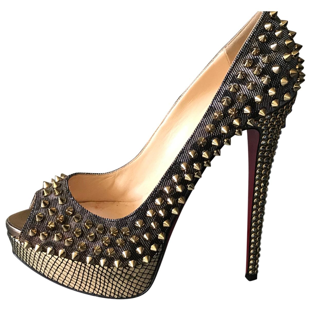 Christian Louboutin Lady Peep Gold Leather Heels for Women 40 EU