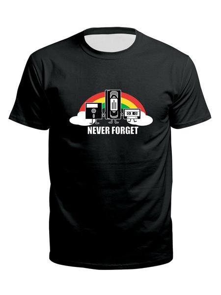 Milanoo Camisetas negras para hombres Ropa de manga corta con cuello redondo