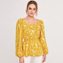 Square Neck Lantern Sleeve Shirred Waist Floral Peplum Top