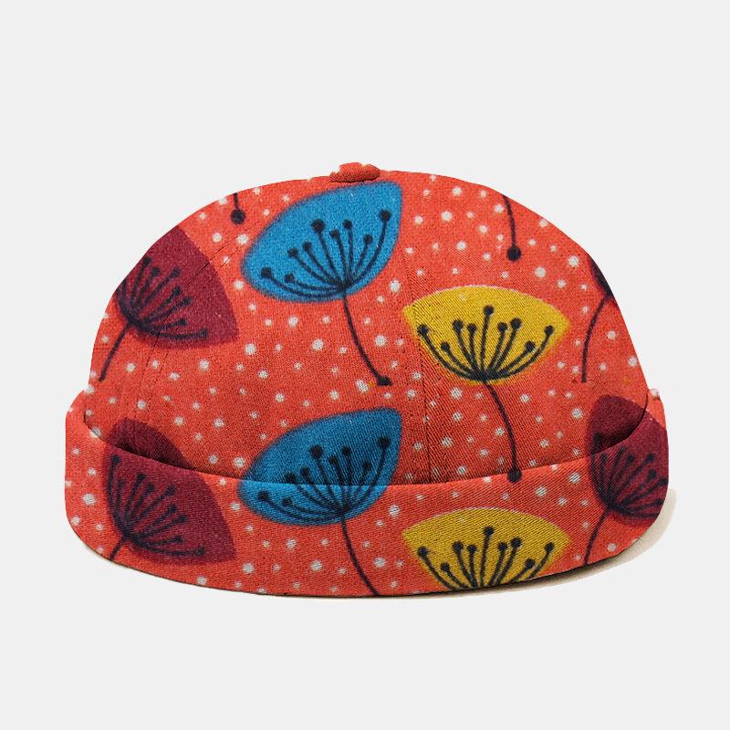 Men Floral Dot Pattern Casual Beanie Landlord Cap Skull Cap - Orange