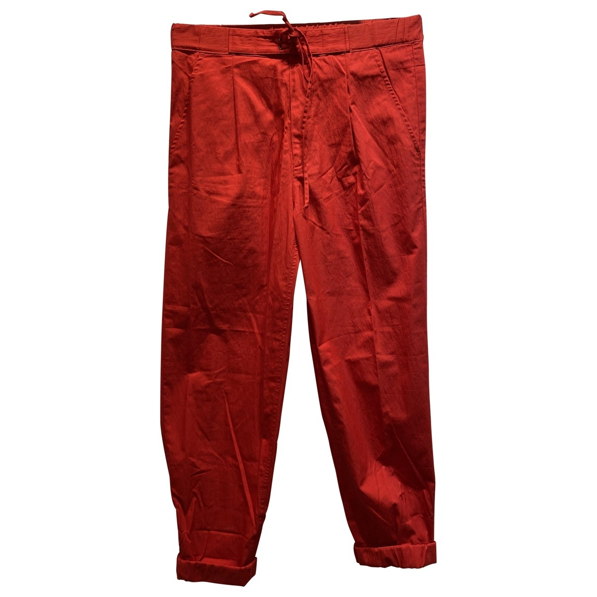 Bottega Veneta \N Red Cotton Trousers for Men 46 IT