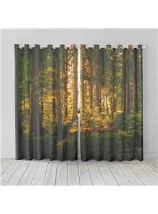 Sunshine and Morning Woods Pattern 3D Room Darkening Curtains 2 Panel Set 87 Inches Wide and 84 Inches with 260g ㎡ Thick Silky Soft Touch Polyester Bo