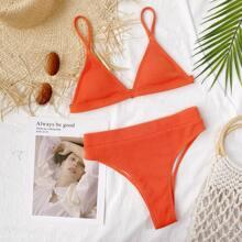 Gerippter dreieckiger Bikini Badeanzug mit hoher Taille
