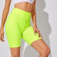 Neon Yellow Textured Sports Biker Shorts