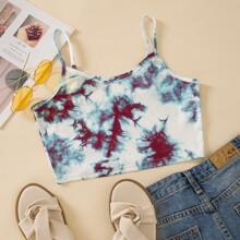Tie Dye Print Crop Cami Top