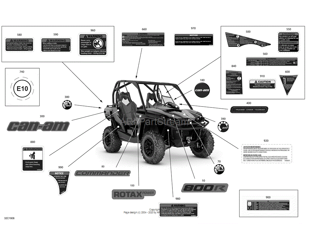 Can-AM OEM Warning Decal, Cargo Box