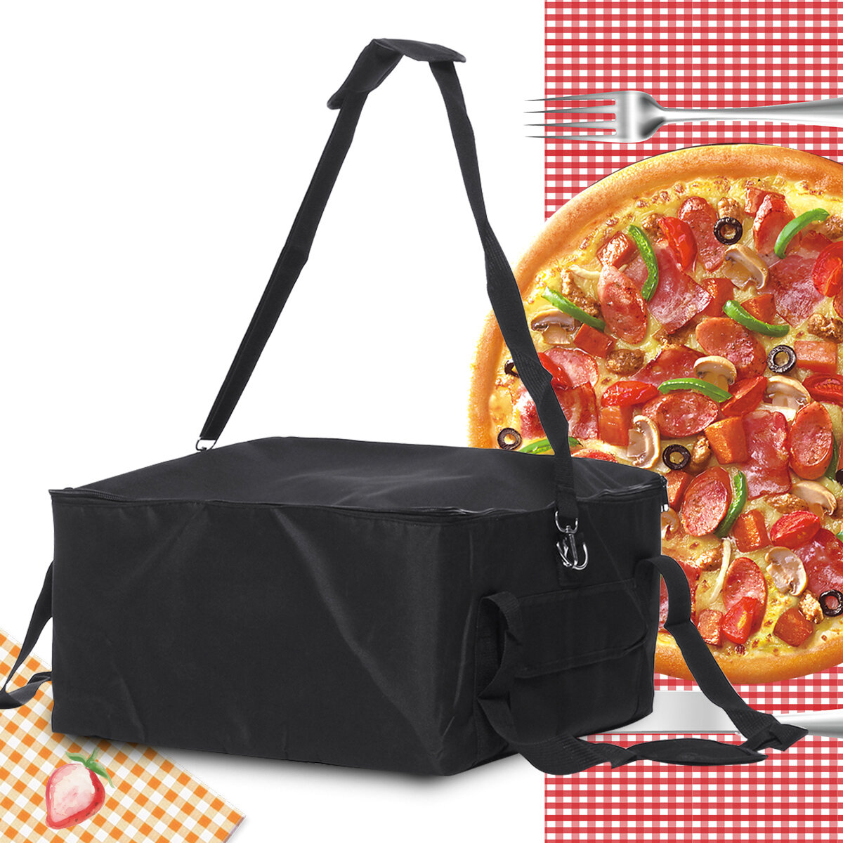 16'' Pizza Food Delivery Bag Insulated Thermal Nylon Holds Bag Aluminium Foil Packing Bag