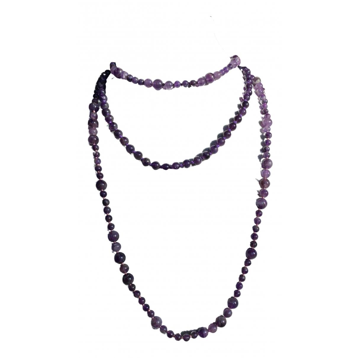Non Signe / Unsigned Amethyste Halskette in  Lila Perlen