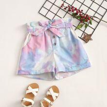 Maedchen Shorts mit Papiertasche Taille, Guertel, Batik und Manschetten