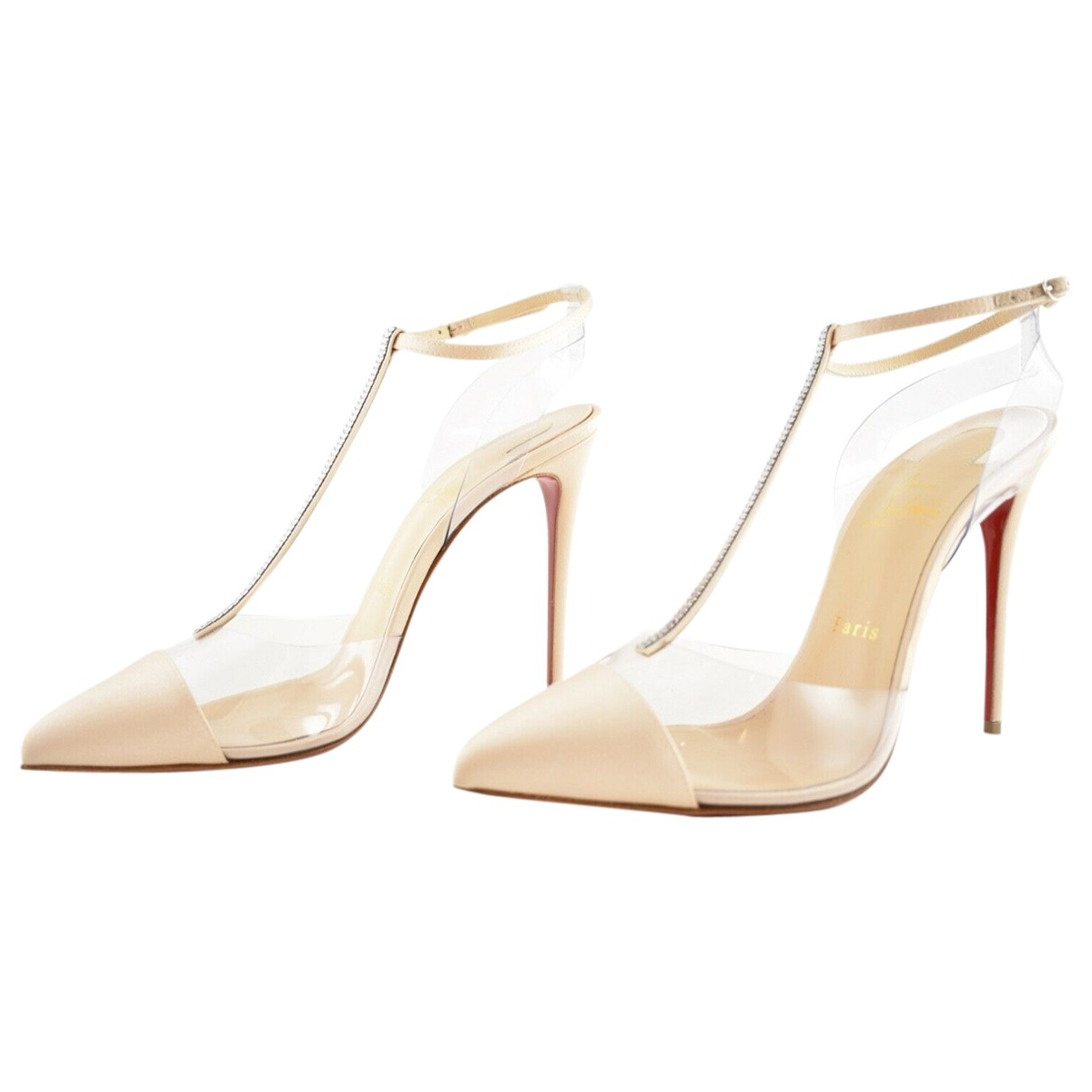 Christian Louboutin Nosy Spikes Pumps in  Beige Leder