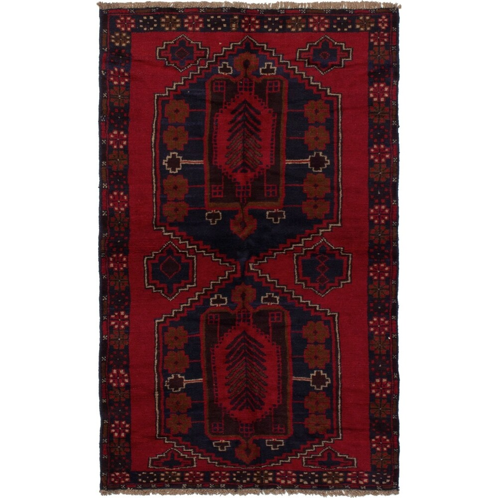 ECARPETGALLERY Hand-knotted Teimani Red Wool Rug - 3'7 x 6'6 (Red - 3'7 x 6'6)