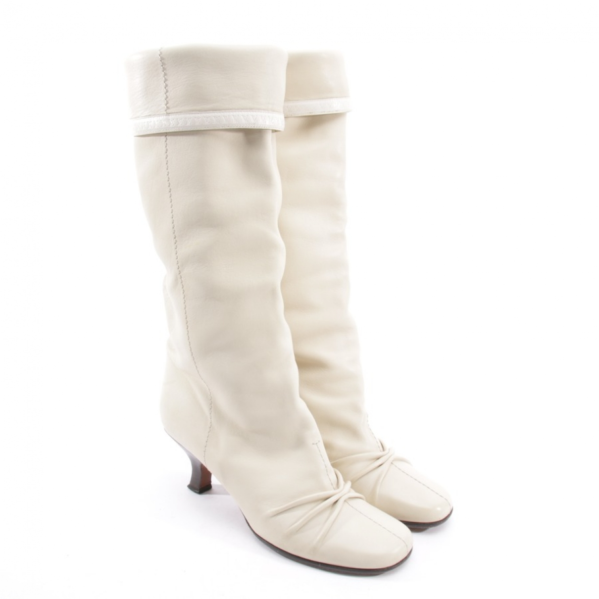 Louis Vuitton \N White Leather Boots for Women 37.5 EU
