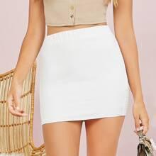 Smocked Mini Pencil Skirt