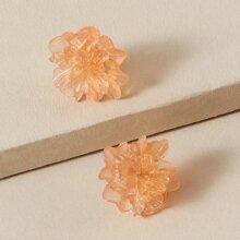 1pair Floral Design Stud Earrings