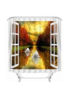 Couple Swans Swimming on the Calm Lake out of the Window Print 3D Bathroom Shower Curtain