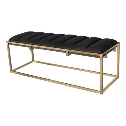 Mayeso Collection 914111 48 Bench with Deep Vertical Channeling  Stylish Gold Metal Base and Upholstered in Dark Grey