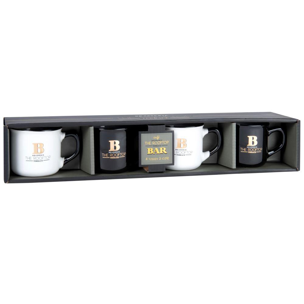 Set mit 4 Tassen aus Steinzeug, schwarz, weiss und goldfarben