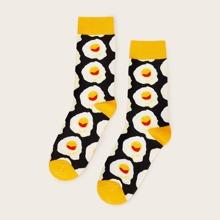 Calcetines tobilleros de hombres con patron de huevo 1 par