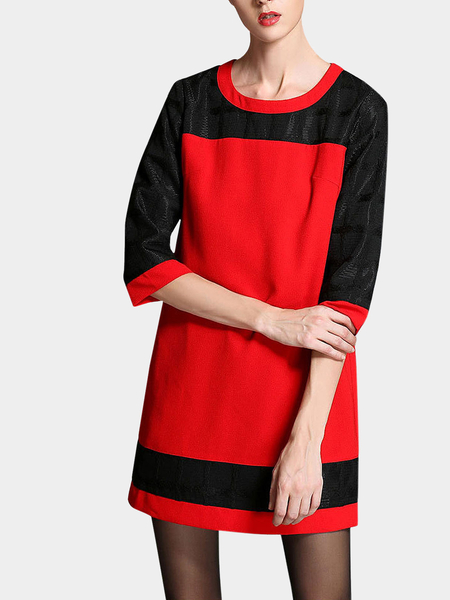 Yoins Plus Size 3/4 Length Sleeve Dress In Red And Black