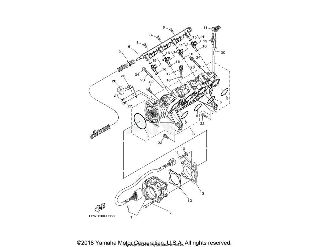 Yamaha OEM 6BH-13641-10-00 MANIFOLD, INTAKE 1