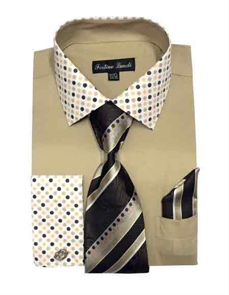 Mens Fashionable Khaki Solid Dot Pattern Tie Hanky Cuff Dress Shirt
