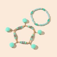 2 Stuecke Armband mit Pompons Dekor
