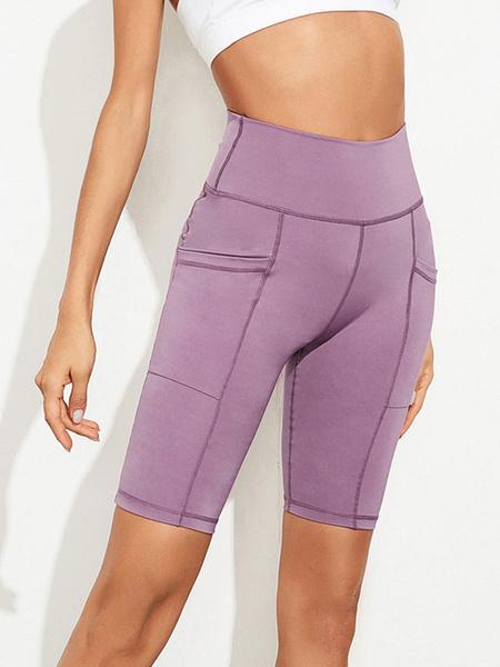 Milanoo Pantalones cortos de mujer Casual Poliester Skinny Cintura elevada Pantalones deportivos