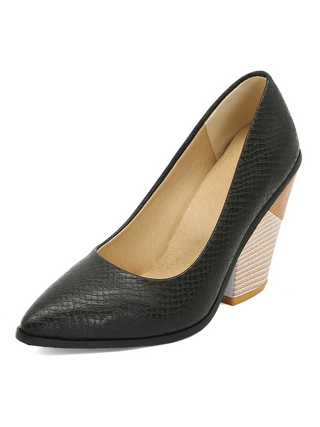 Milanoo Womens Snake Print High Heels Pointed Toe Pumps Special-Shaped Heel Plus Size Shoes