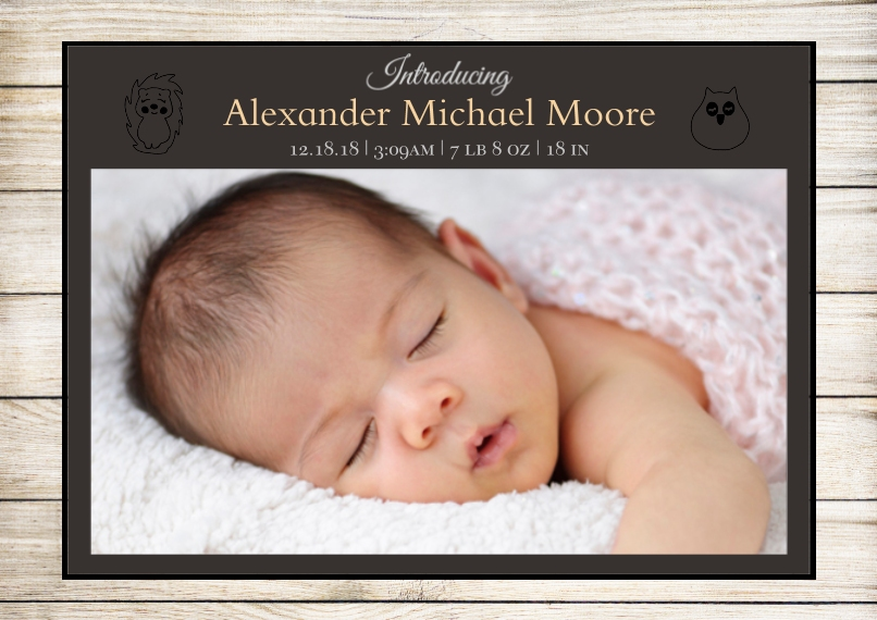 Baby Announcements Set of 20, Premium 5x7 Foil Card, Card & Stationery -Woodgrain Animals