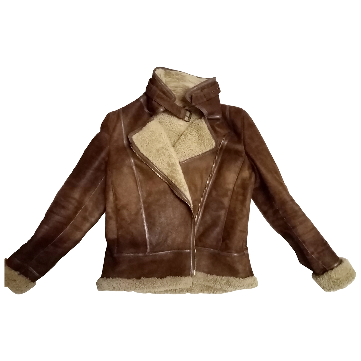 Massimo Dutti \N Brown Leather Leather jacket for Women 36 FR