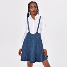 Zip Back Denim Overall Dress