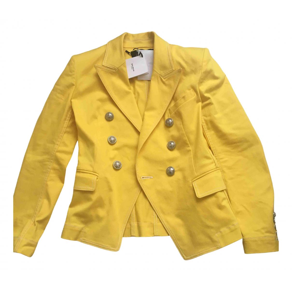 Balmain \N Jacke in  Gelb Baumwolle