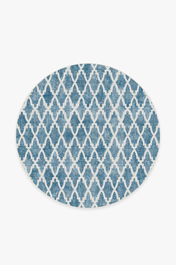Washable Rug Cover   Soraya Trellis Blue Rug   Stain-Resistant   Ruggable   6' Round