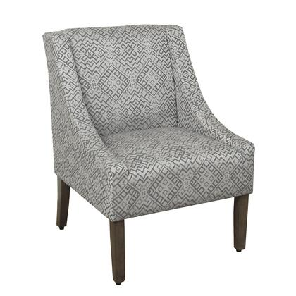 BM194037 Geometric Pattern Fabric Upholstered Wooden Accent Chair with Swooping Armrests  Gray and