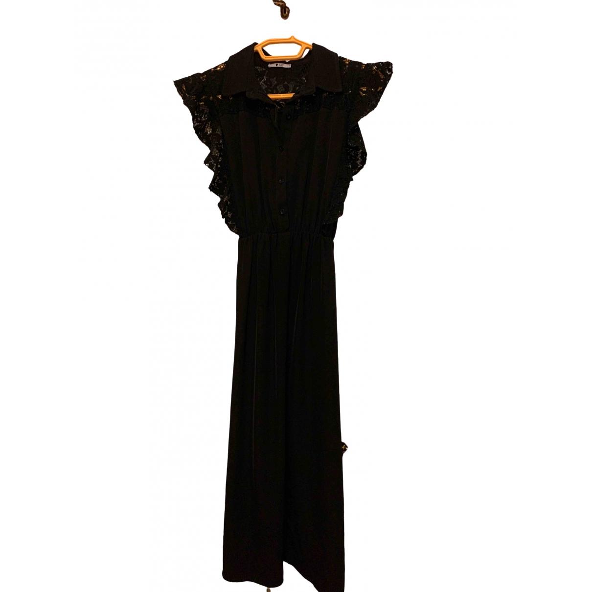Non Signe / Unsigned Epaulettes Kleid in  Schwarz Baumwolle