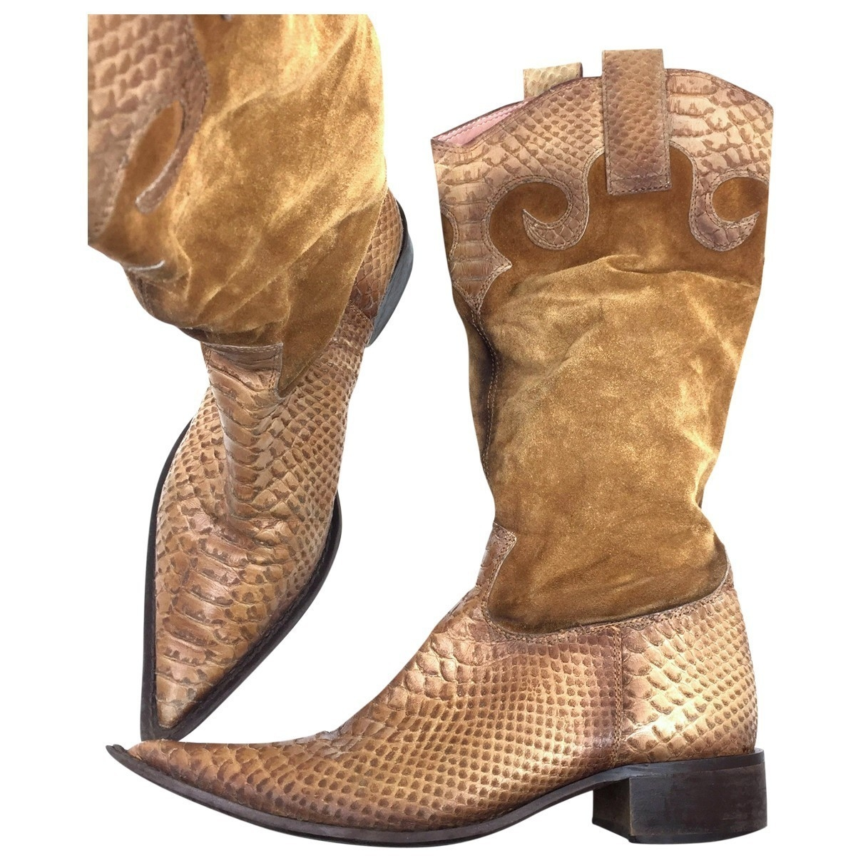 Non Signé / Unsigned \N Camel Python Boots for Women 37 EU