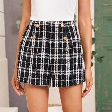 Plaid Print Button Detail Tweed Shorts